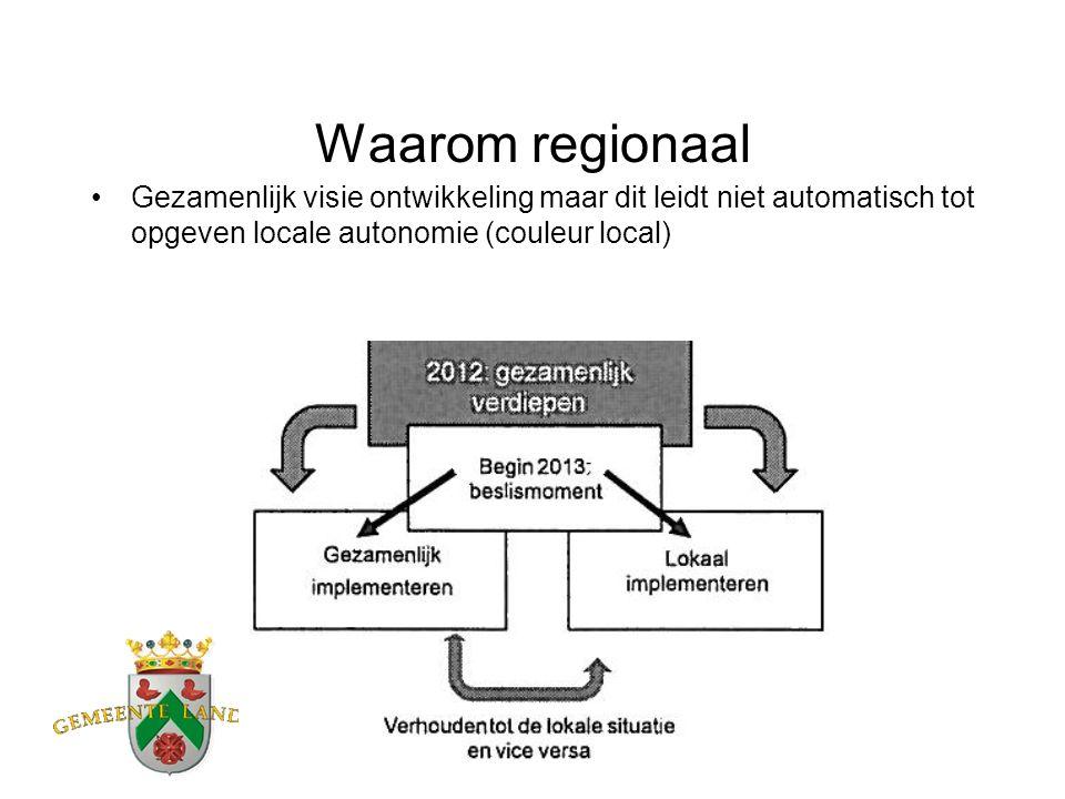 Waarom regionaal Gezamenlijk visie ontwikkeling maar dit leidt niet automatisch tot opgeven locale autonomie (couleur local)