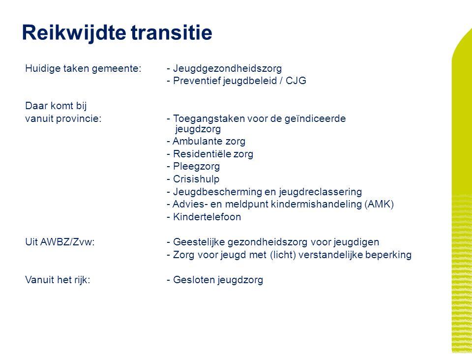 Reikwijdte transitie Huidige taken gemeente: - Jeugdgezondheidszorg - Preventief jeugdbeleid / CJG Daar komt bij vanuit provincie: - Toegangstaken voor de geïndiceerde jeugdzorg - Ambulante zorg - Residentiële zorg - Pleegzorg - Crisishulp - Jeugdbescherming en jeugdreclassering - Advies- en meldpunt kindermishandeling (AMK) - Kindertelefoon Uit AWBZ/Zvw: - Geestelijke gezondheidszorg voor jeugdigen - Zorg voor jeugd met (licht) verstandelijke beperking Vanuit het rijk:- Gesloten jeugdzorg