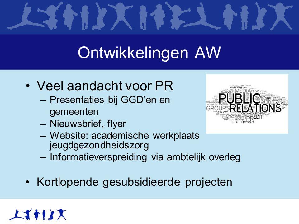 Ontwikkelingen AW Veel aandacht voor PR –Presentaties bij GGD'en en gemeenten –Nieuwsbrief, flyer –Website: academische werkplaats jeugdgezondheidszor