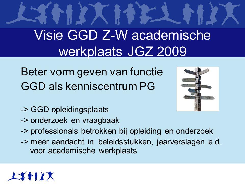 Visie GGD Z-W academische werkplaats JGZ 2009 Beter vorm geven van functie GGD als kenniscentrum PG -> GGD opleidingsplaats -> onderzoek en vraagbaak -> professionals betrokken bij opleiding en onderzoek -> meer aandacht in beleidsstukken, jaarverslagen e.d.