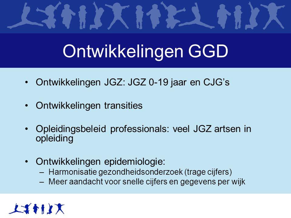 Ontwikkelingen GGD Ontwikkelingen JGZ: JGZ 0-19 jaar en CJG's Ontwikkelingen transities Opleidingsbeleid professionals: veel JGZ artsen in opleiding O