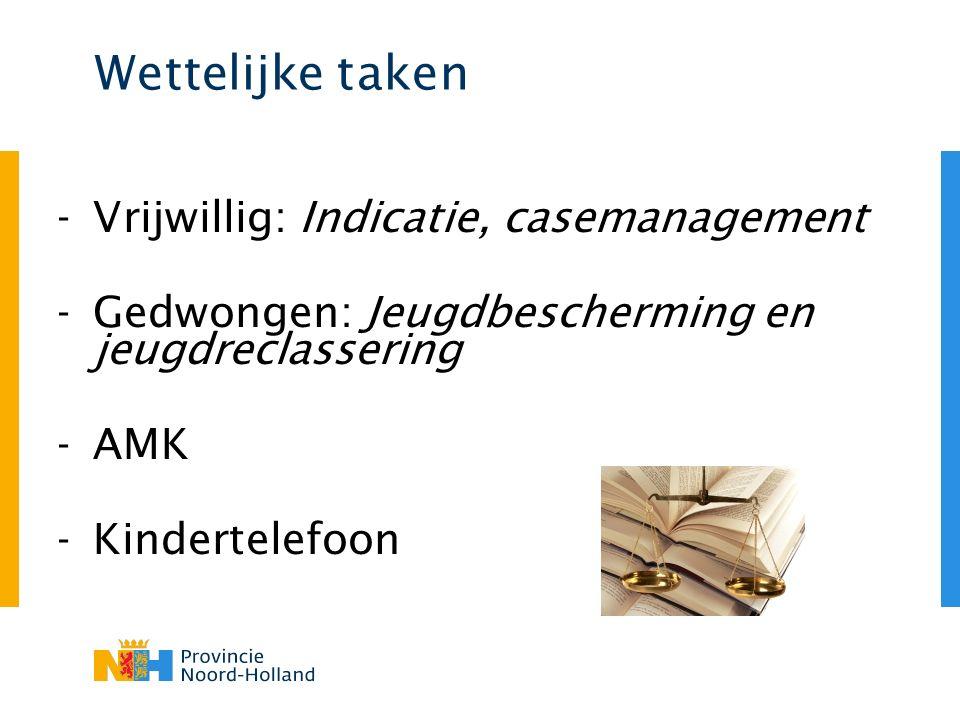 Wettelijke taken -Vrijwillig: Indicatie, casemanagement -Gedwongen: Jeugdbescherming en jeugdreclassering -AMK -Kindertelefoon