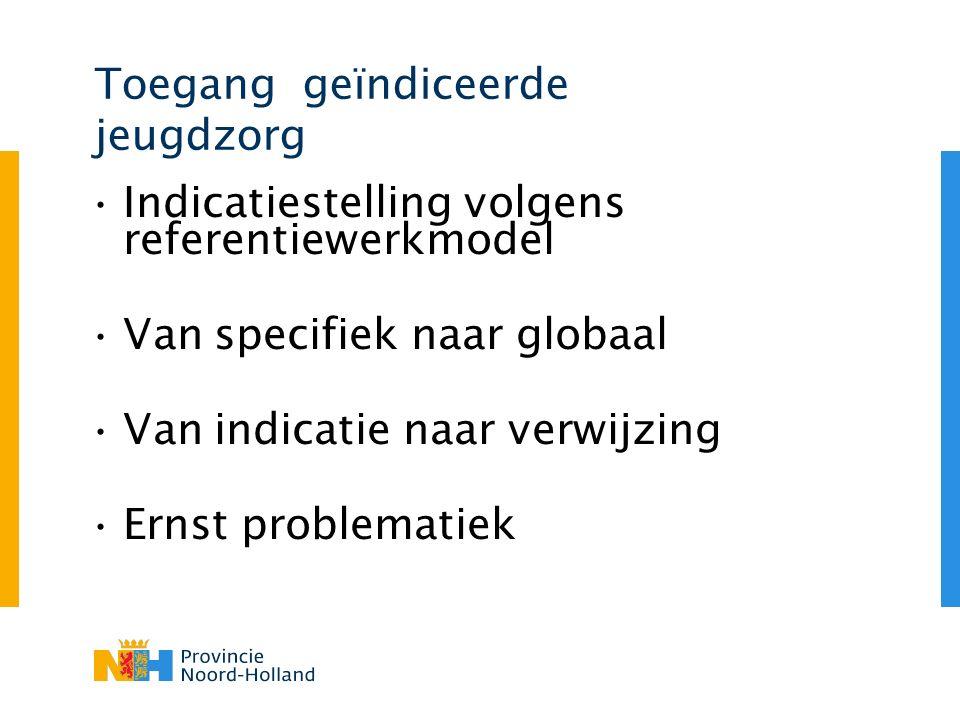 Toegang geïndiceerde jeugdzorg Indicatiestelling volgens referentiewerkmodel Van specifiek naar globaal Van indicatie naar verwijzing Ernst problemati