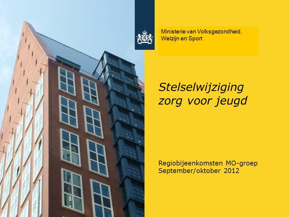 Stelselwijziging zorg voor jeugd Regiobijeenkomsten MO-groep September/oktober 2012 Ministerie van Volksgezondheid, Welzijn en Sport