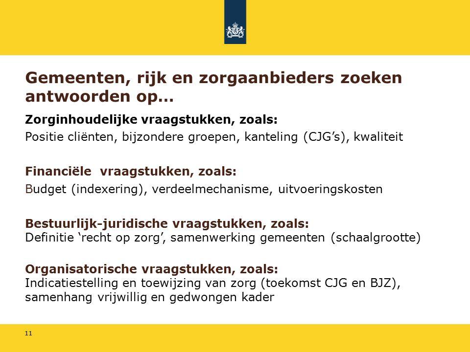 11 Gemeenten, rijk en zorgaanbieders zoeken antwoorden op… Zorginhoudelijke vraagstukken, zoals: Positie cliënten, bijzondere groepen, kanteling (CJG's), kwaliteit Financiële vraagstukken, zoals: Budget (indexering), verdeelmechanisme, uitvoeringskosten Bestuurlijk-juridische vraagstukken, zoals: Definitie 'recht op zorg', samenwerking gemeenten (schaalgrootte) Organisatorische vraagstukken, zoals: Indicatiestelling en toewijzing van zorg (toekomst CJG en BJZ), samenhang vrijwillig en gedwongen kader