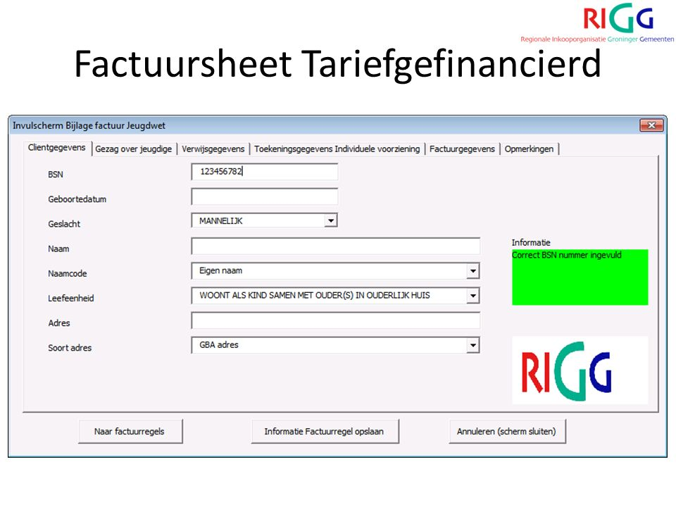 Factuursheet Tariefgefinancierd