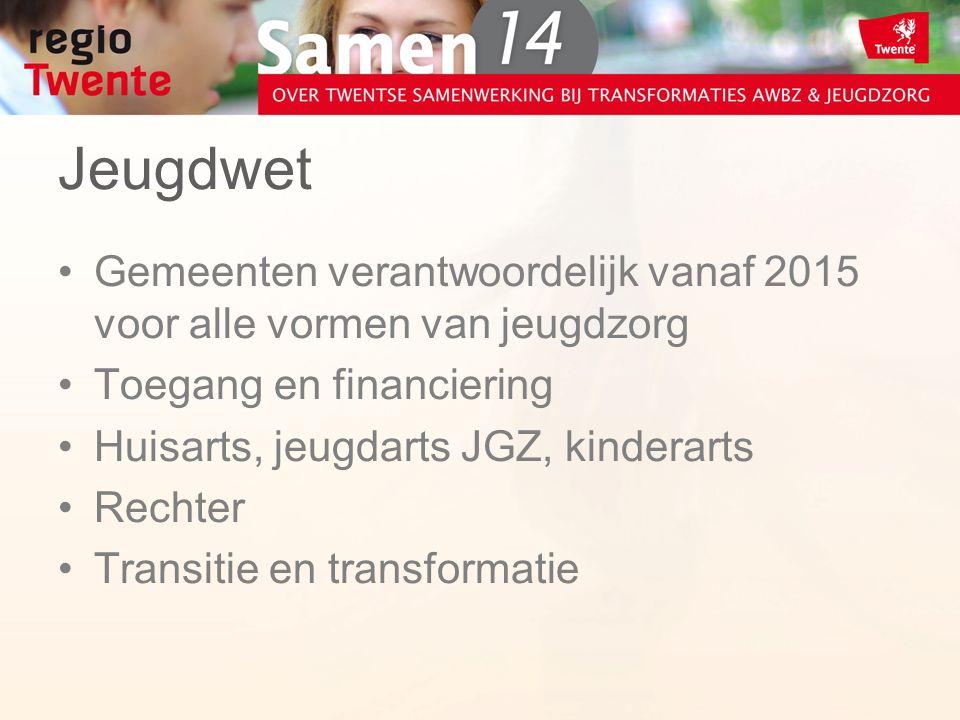 Jeugdwet Gemeenten verantwoordelijk vanaf 2015 voor alle vormen van jeugdzorg Toegang en financiering Huisarts, jeugdarts JGZ, kinderarts Rechter Transitie en transformatie