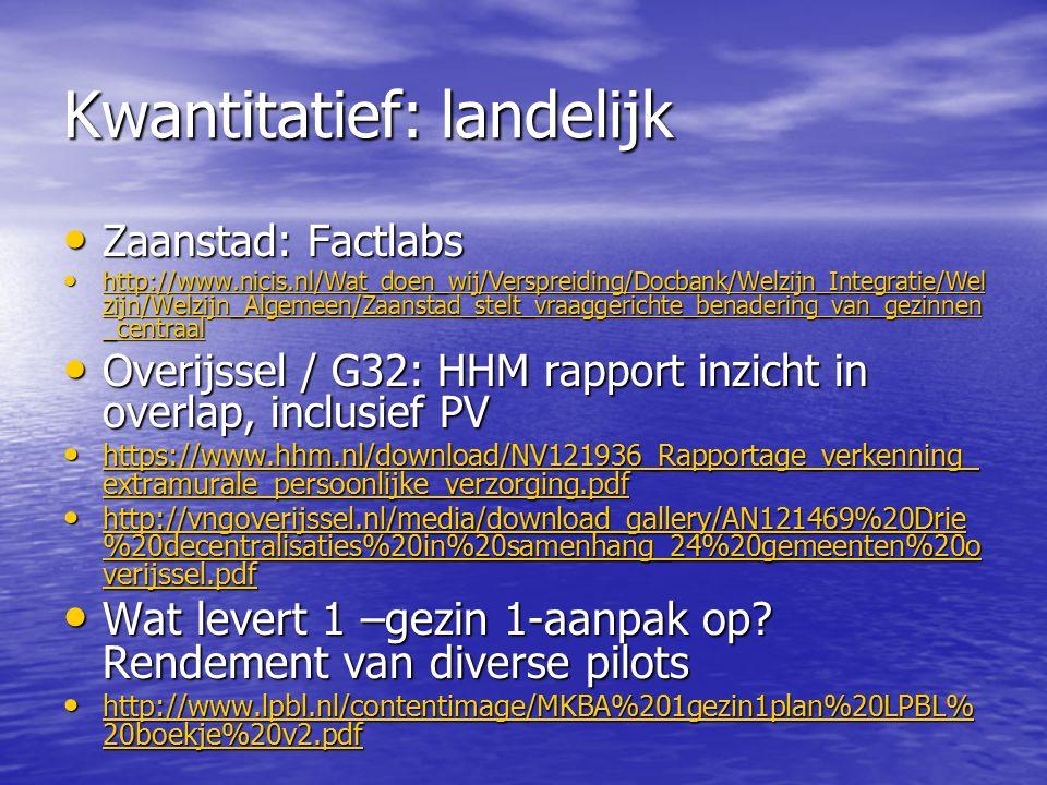 Kwantitatief: landelijk Zaanstad: Factlabs Zaanstad: Factlabs http://www.nicis.nl/Wat_doen_wij/Verspreiding/Docbank/Welzijn_Integratie/Wel zijn/Welzijn_Algemeen/Zaanstad_stelt_vraaggerichte_benadering_van_gezinnen _centraal http://www.nicis.nl/Wat_doen_wij/Verspreiding/Docbank/Welzijn_Integratie/Wel zijn/Welzijn_Algemeen/Zaanstad_stelt_vraaggerichte_benadering_van_gezinnen _centraal http://www.nicis.nl/Wat_doen_wij/Verspreiding/Docbank/Welzijn_Integratie/Wel zijn/Welzijn_Algemeen/Zaanstad_stelt_vraaggerichte_benadering_van_gezinnen _centraal http://www.nicis.nl/Wat_doen_wij/Verspreiding/Docbank/Welzijn_Integratie/Wel zijn/Welzijn_Algemeen/Zaanstad_stelt_vraaggerichte_benadering_van_gezinnen _centraal Overijssel / G32: HHM rapport inzicht in overlap, inclusief PV Overijssel / G32: HHM rapport inzicht in overlap, inclusief PV https://www.hhm.nl/download/NV121936_Rapportage_verkenning_ extramurale_persoonlijke_verzorging.pdf https://www.hhm.nl/download/NV121936_Rapportage_verkenning_ extramurale_persoonlijke_verzorging.pdf https://www.hhm.nl/download/NV121936_Rapportage_verkenning_ extramurale_persoonlijke_verzorging.pdf https://www.hhm.nl/download/NV121936_Rapportage_verkenning_ extramurale_persoonlijke_verzorging.pdf http://vngoverijssel.nl/media/download_gallery/AN121469%20Drie %20decentralisaties%20in%20samenhang_24%20gemeenten%20o verijssel.pdf http://vngoverijssel.nl/media/download_gallery/AN121469%20Drie %20decentralisaties%20in%20samenhang_24%20gemeenten%20o verijssel.pdf http://vngoverijssel.nl/media/download_gallery/AN121469%20Drie %20decentralisaties%20in%20samenhang_24%20gemeenten%20o verijssel.pdf http://vngoverijssel.nl/media/download_gallery/AN121469%20Drie %20decentralisaties%20in%20samenhang_24%20gemeenten%20o verijssel.pdf Wat levert 1 –gezin 1-aanpak op.