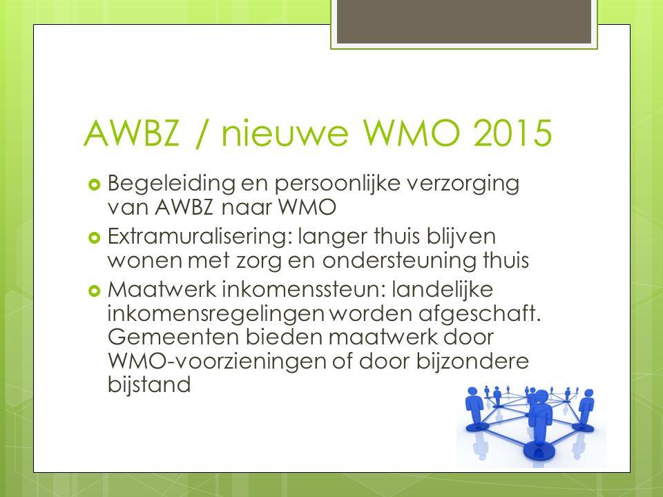 AWBZ / nieuwe WMO 2015  Begeleiding en persoonlijke verzorging van AWBZ naar WMO  Extramuralisering: langer thuis blijven wonen met zorg en ondersteuning thuis  Maatwerk inkomenssteun: landelijke inkomensregelingen worden afgeschaft.