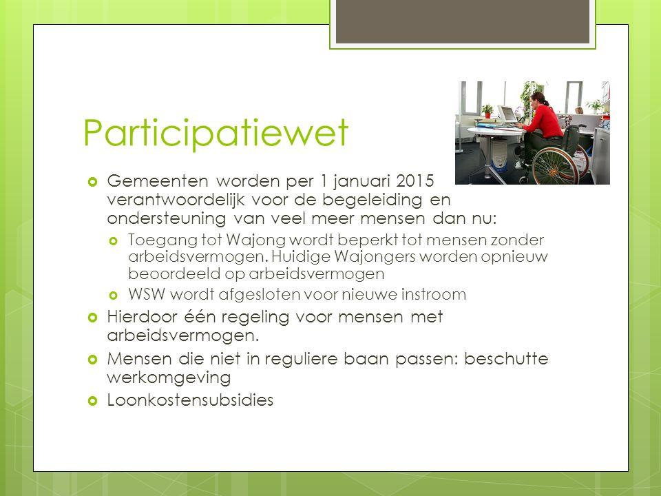 Participatiewet  Gemeenten worden per 1 januari 2015 verantwoordelijk voor de begeleiding en ondersteuning van veel meer mensen dan nu:  Toegang tot Wajong wordt beperkt tot mensen zonder arbeidsvermogen.