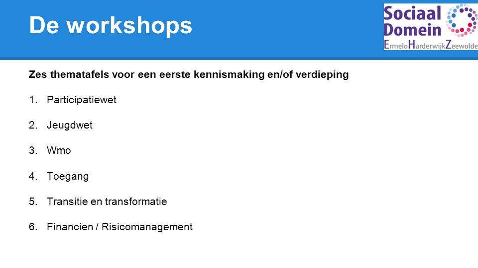 De workshops Zes thematafels voor een eerste kennismaking en/of verdieping 1.Participatiewet 2.Jeugdwet 3.Wmo 4.Toegang 5.Transitie en transformatie 6.Financien / Risicomanagement