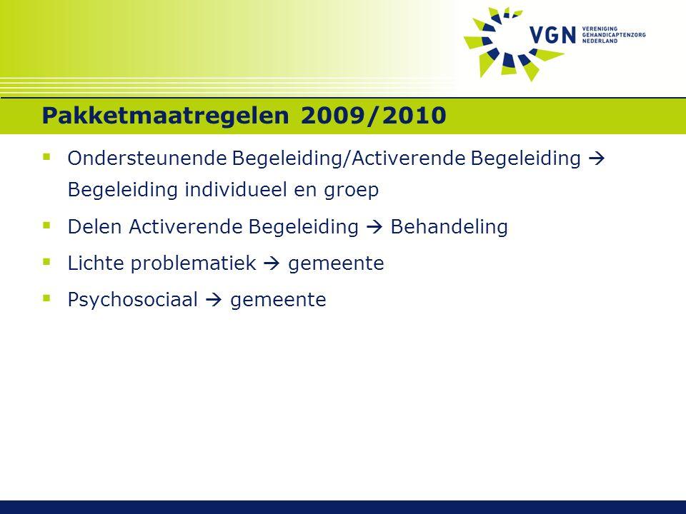 Pakketmaatregelen 2009/2010  Ondersteunende Begeleiding/Activerende Begeleiding  Begeleiding individueel en groep  Delen Activerende Begeleiding 