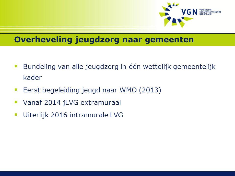 Overheveling jeugdzorg naar gemeenten  Bundeling van alle jeugdzorg in één wettelijk gemeentelijk kader  Eerst begeleiding jeugd naar WMO (2013)  V