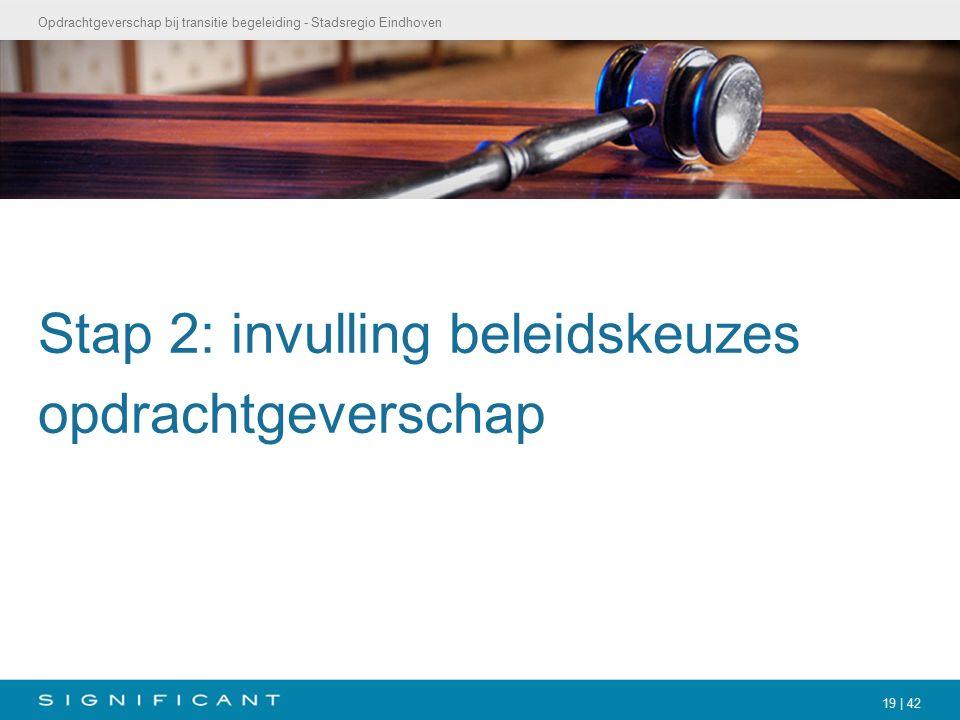 Opdrachtgeverschap bij transitie begeleiding - Stadsregio Eindhoven 19 | 42 Stap 2: invulling beleidskeuzes opdrachtgeverschap