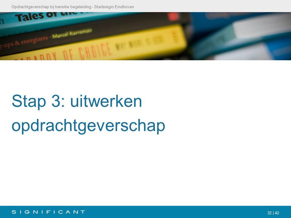 Opdrachtgeverschap bij transitie begeleiding - Stadsregio Eindhoven 32 | 42 Stap 3: uitwerken opdrachtgeverschap