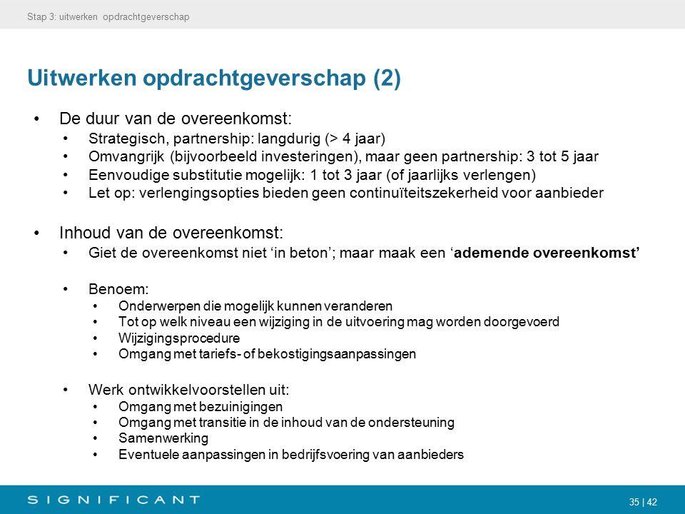 35 | 42 Uitwerken opdrachtgeverschap (2) De duur van de overeenkomst: Strategisch, partnership: langdurig (> 4 jaar) Omvangrijk (bijvoorbeeld invester