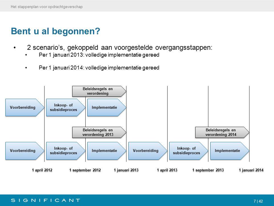 7 | 42 Bent u al begonnen? 2 scenario's, gekoppeld aan voorgestelde overgangsstappen: Per 1 januari 2013: volledige implementatie gereed Per 1 januari