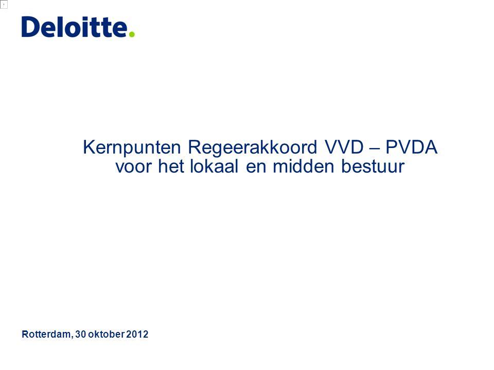 © 2012 Deloitte The Netherlands Samenvatting financiële gevolgen Regeerakkoord voor Gemeenten 1 Het kabinet streeft naar gemeenten met een minimale omvang van 100.000 inwoners.