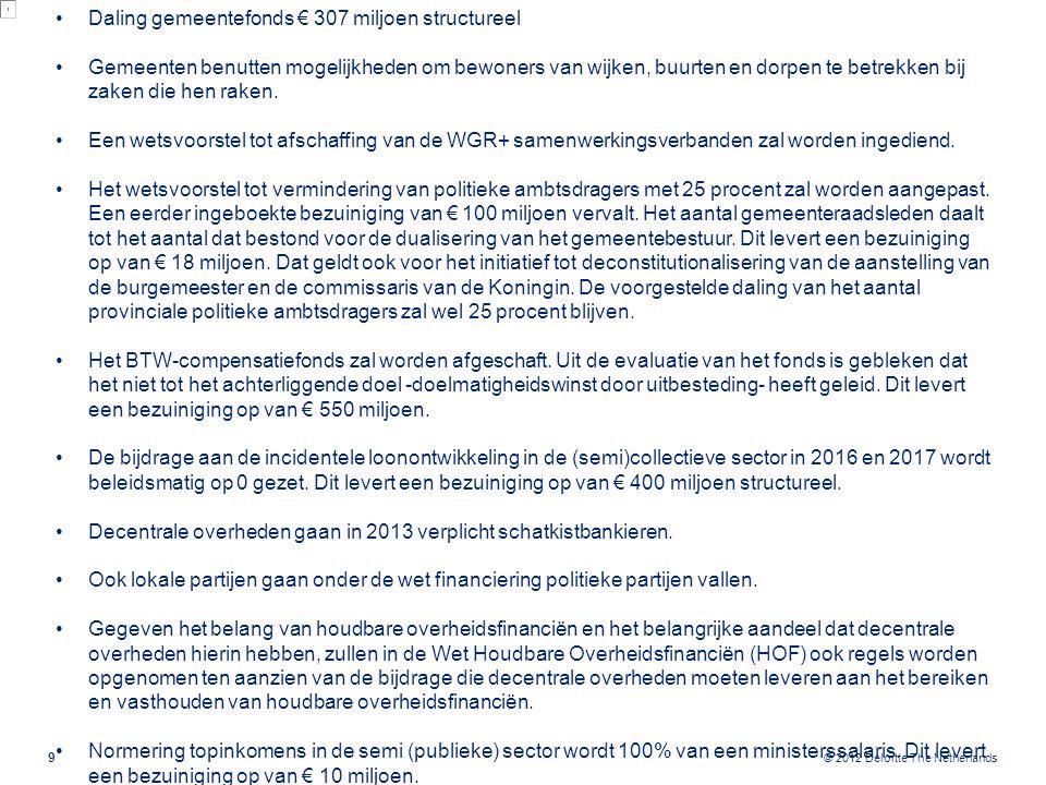 © 2012 Deloitte The Netherlands 9 Daling gemeentefonds € 307 miljoen structureel Gemeenten benutten mogelijkheden om bewoners van wijken, buurten en d