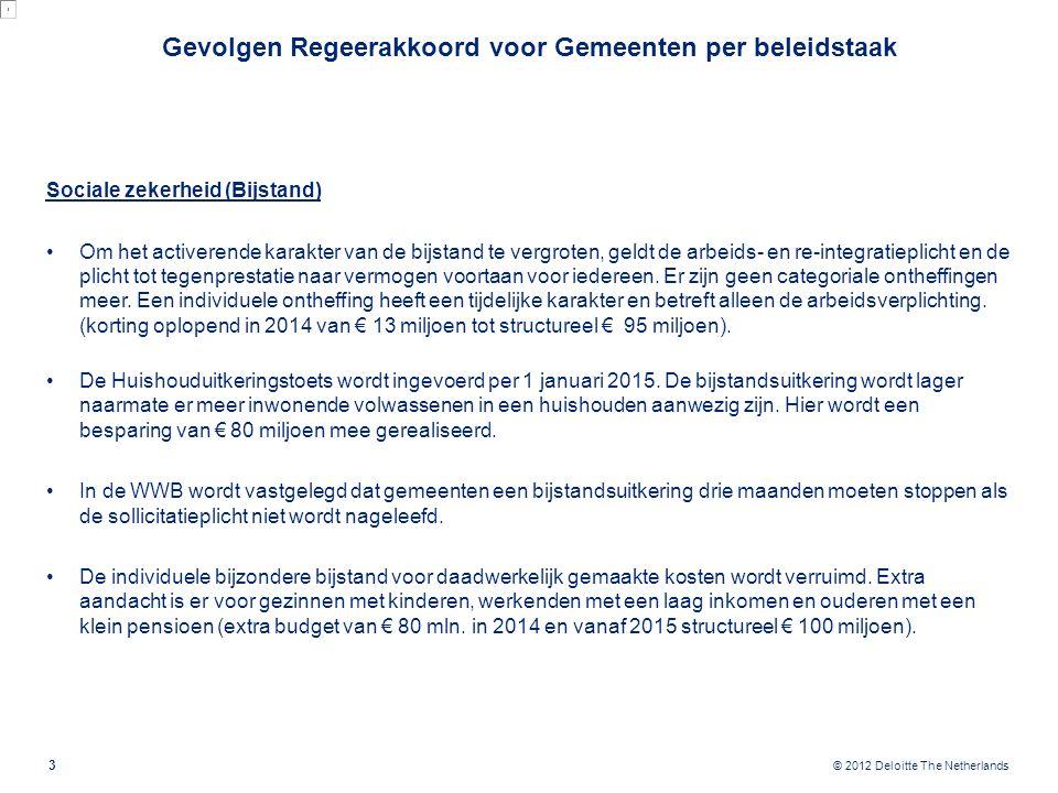 © 2012 Deloitte The Netherlands Sociale zekerheid (Bijstand) Om het activerende karakter van de bijstand te vergroten, geldt de arbeids- en re-integra