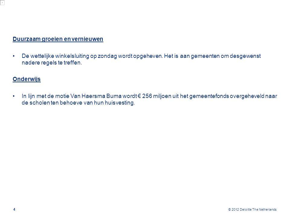 © 2012 Deloitte The Netherlands Duurzaam groeien en vernieuwen De wettelijke winkelsluiting op zondag wordt opgeheven. Het is aan gemeenten om desgewe