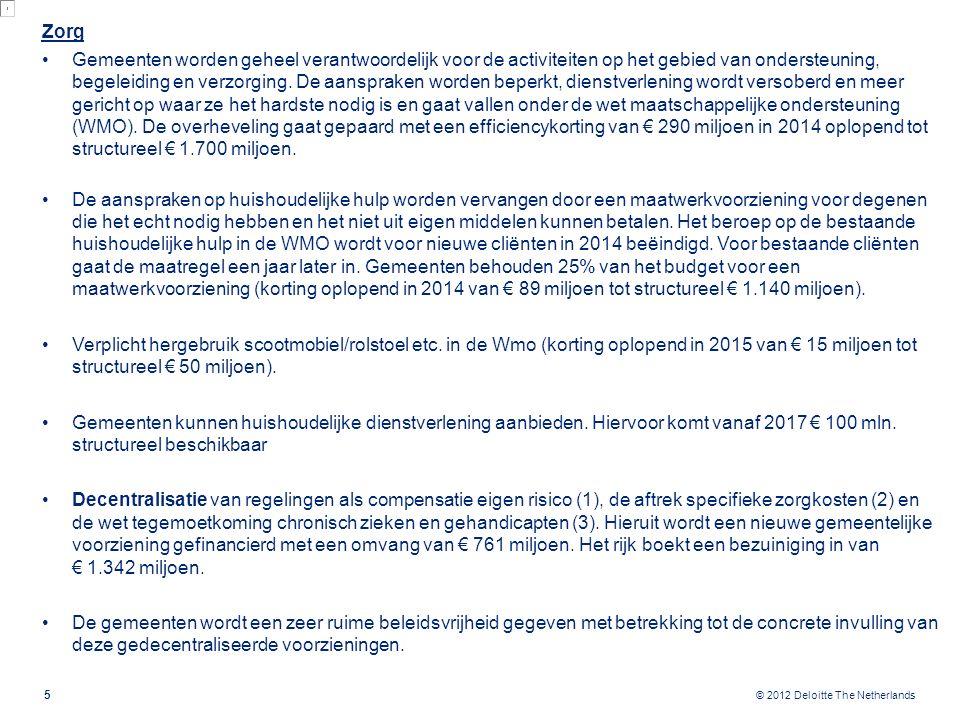© 2012 Deloitte The Netherlands Zorg Gemeenten worden geheel verantwoordelijk voor de activiteiten op het gebied van ondersteuning, begeleiding en ver