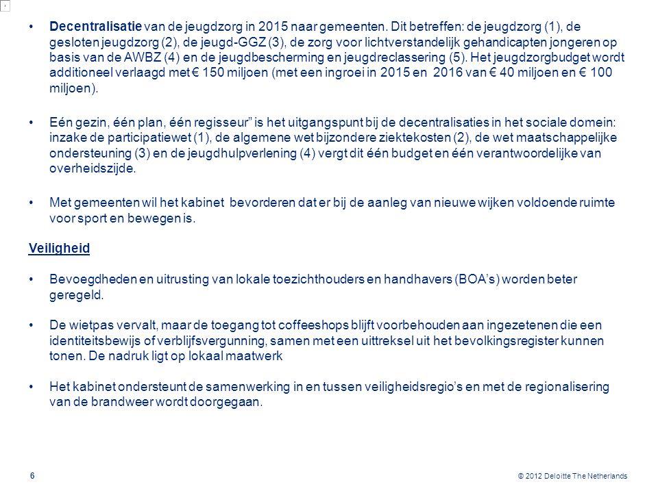 © 2012 Deloitte The Netherlands 7 Arbeidsmarkt Voor 55-plussers die ontslagen worden gaat de inkomensvoorziening voor oudere werklozen (IOW) gelden, zonder partner- of vermogenstoets en met sollicitatieplicht.