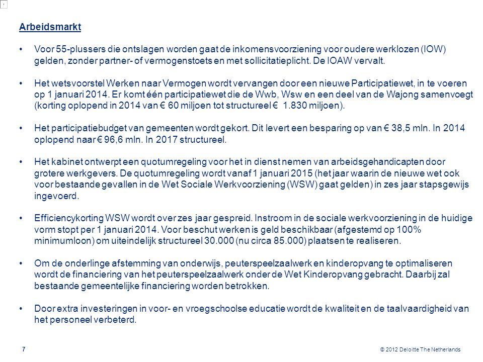 © 2012 Deloitte The Netherlands 7 Arbeidsmarkt Voor 55-plussers die ontslagen worden gaat de inkomensvoorziening voor oudere werklozen (IOW) gelden, z