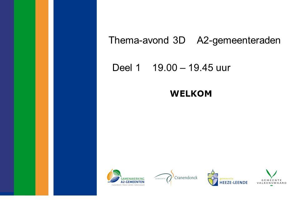 Thema-avond 3D A2-gemeenteraden Deel 1 19.00 – 19.45 uur WELKOM