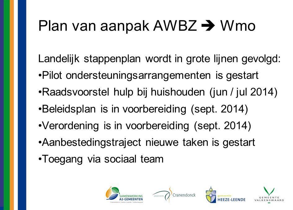 Plan van aanpak AWBZ  Wmo Landelijk stappenplan wordt in grote lijnen gevolgd: Pilot ondersteuningsarrangementen is gestart Raadsvoorstel hulp bij huishouden (jun / jul 2014) Beleidsplan is in voorbereiding (sept.