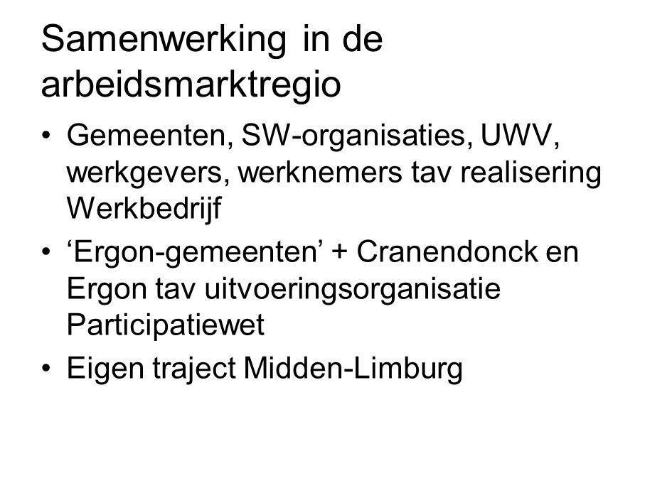 Samenwerking in de arbeidsmarktregio Gemeenten, SW-organisaties, UWV, werkgevers, werknemers tav realisering Werkbedrijf 'Ergon-gemeenten' + Cranendonck en Ergon tav uitvoeringsorganisatie Participatiewet Eigen traject Midden-Limburg