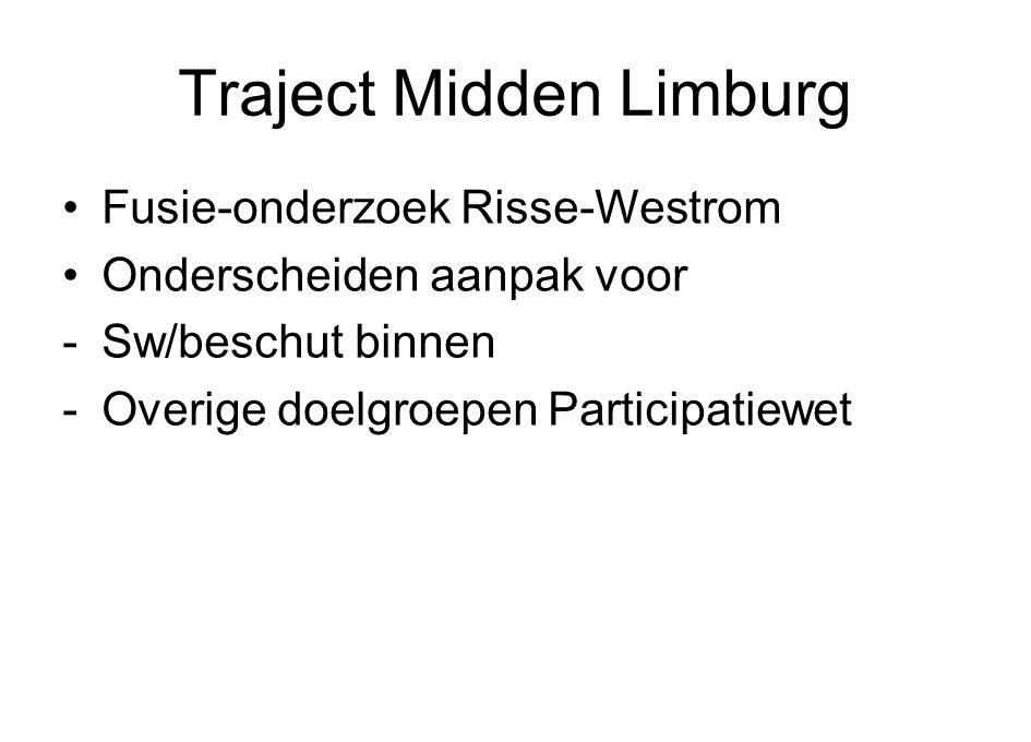 Traject Midden Limburg Fusie-onderzoek Risse-Westrom Onderscheiden aanpak voor -Sw/beschut binnen -Overige doelgroepen Participatiewet