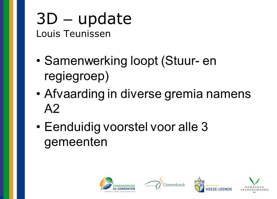 3D – update Louis Teunissen Samenwerking loopt (Stuur- en regiegroep) Afvaarding in diverse gremia namens A2 Eenduidig voorstel voor alle 3 gemeenten