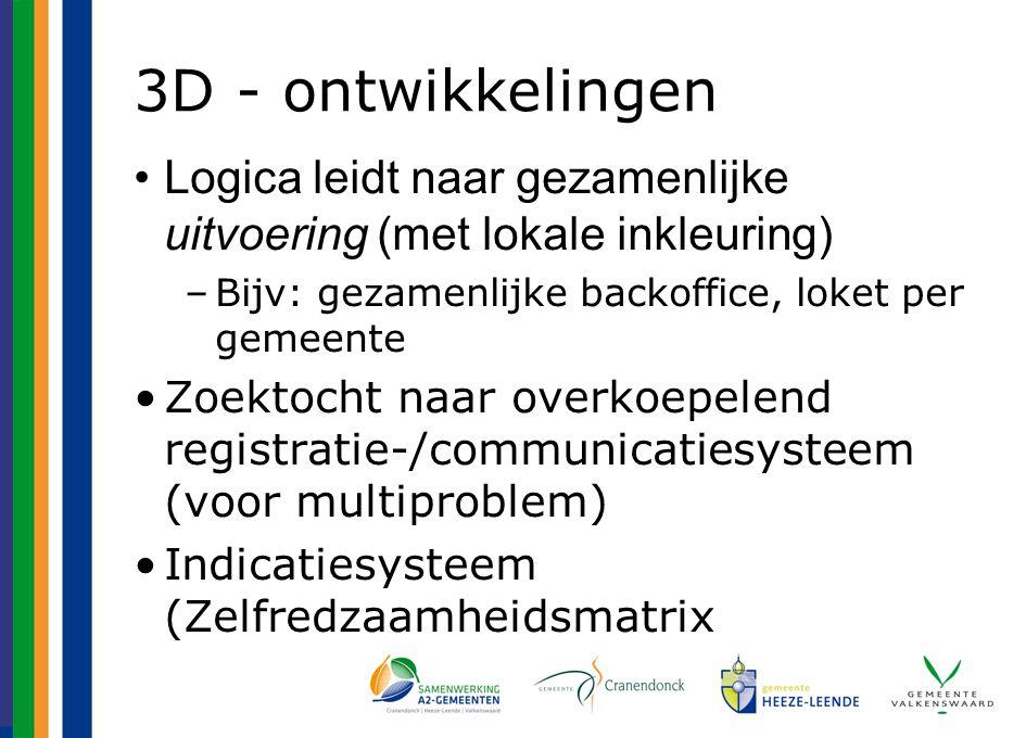 3D - ontwikkelingen Logica leidt naar gezamenlijke uitvoering (met lokale inkleuring) –Bijv: gezamenlijke backoffice, loket per gemeente Zoektocht naar overkoepelend registratie-/communicatiesysteem (voor multiproblem) Indicatiesysteem (Zelfredzaamheidsmatrix