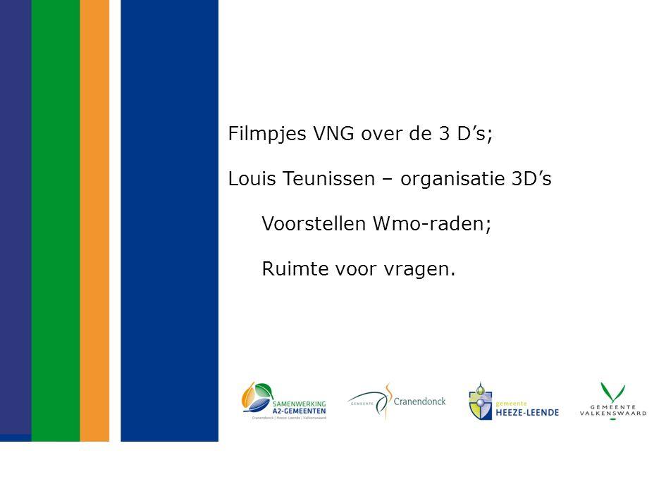 Filmpjes VNG over de 3 D's; Louis Teunissen – organisatie 3D's Voorstellen Wmo-raden; Ruimte voor vragen.