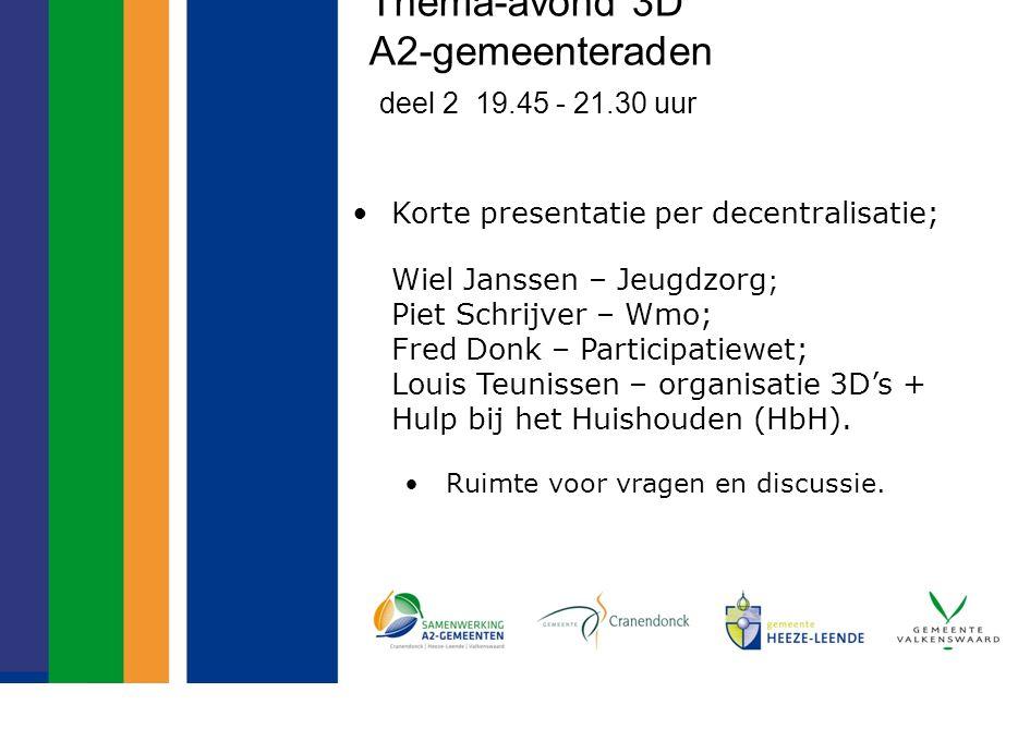 Thema-avond 3D A2-gemeenteraden deel 2 19.45 - 21.30 uur Korte presentatie per decentralisatie; Wiel Janssen – Jeugdzorg ; Piet Schrijver – Wmo; Fred Donk – Participatiewet; Louis Teunissen – organisatie 3D's + Hulp bij het Huishouden (HbH).