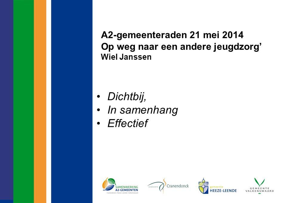 A2-gemeenteraden 21 mei 2014 Op weg naar een andere jeugdzorg' Wiel Janssen Dichtbij, In samenhang Effectief