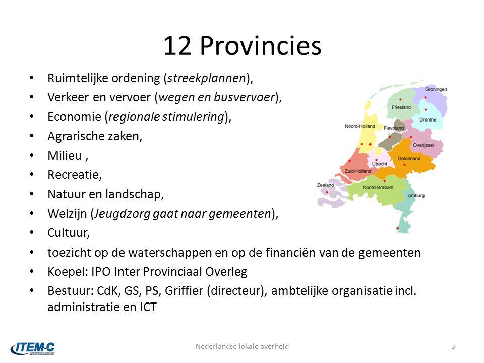 12 Provincies Ruimtelijke ordening (streekplannen), Verkeer en vervoer (wegen en busvervoer), Economie (regionale stimulering), Agrarische zaken, Milieu, Recreatie, Natuur en landschap, Welzijn (Jeugdzorg gaat naar gemeenten), Cultuur, toezicht op de waterschappen en op de financiën van de gemeenten Koepel: IPO Inter Provinciaal Overleg Bestuur: CdK, GS, PS, Griffier (directeur), ambtelijke organisatie incl.