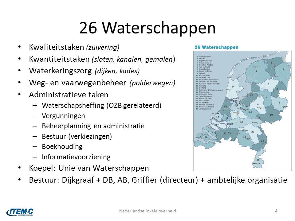 26 Waterschappen Kwaliteitstaken (zuivering) Kwantiteitstaken (sloten, kanalen, gemalen ) Waterkeringszorg (dijken, kades) Weg- en vaarwegenbeheer (polderwegen) Administratieve taken – Waterschapsheffing (OZB gerelateerd) – Vergunningen – Beheerplanning en administratie – Bestuur (verkiezingen) – Boekhouding – Informatievoorziening Koepel: Unie van Waterschappen Bestuur: Dijkgraaf + DB, AB, Griffier (directeur) + ambtelijke organisatie Nederlandse lokale overheid4
