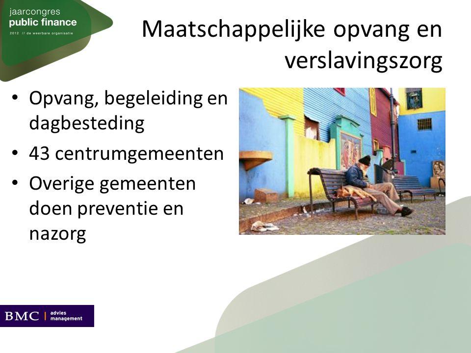 Maatschappelijke opvang en verslavingszorg Opvang, begeleiding en dagbesteding 43 centrumgemeenten Overige gemeenten doen preventie en nazorg