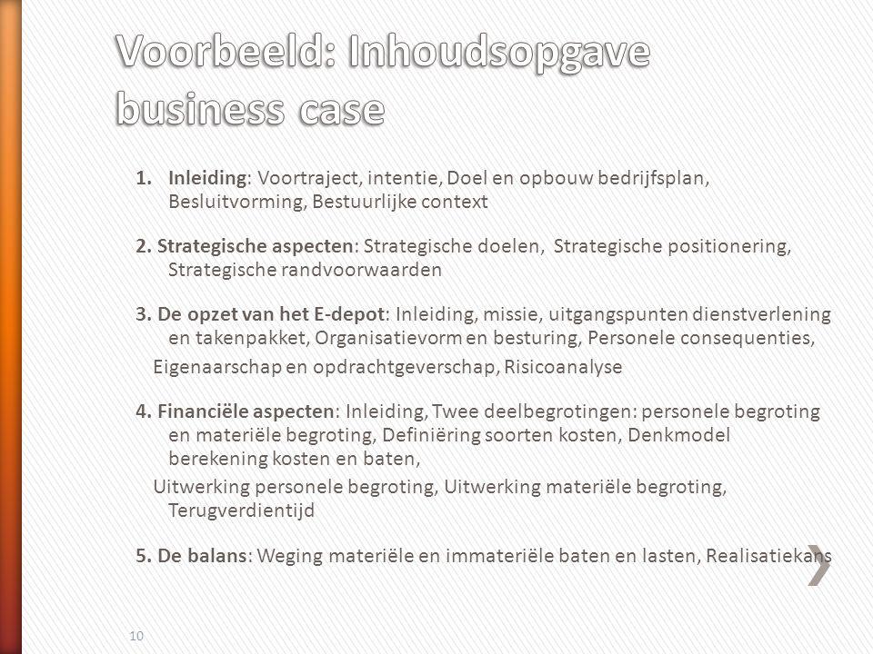1.Inleiding: Voortraject, intentie, Doel en opbouw bedrijfsplan, Besluitvorming, Bestuurlijke context 2.