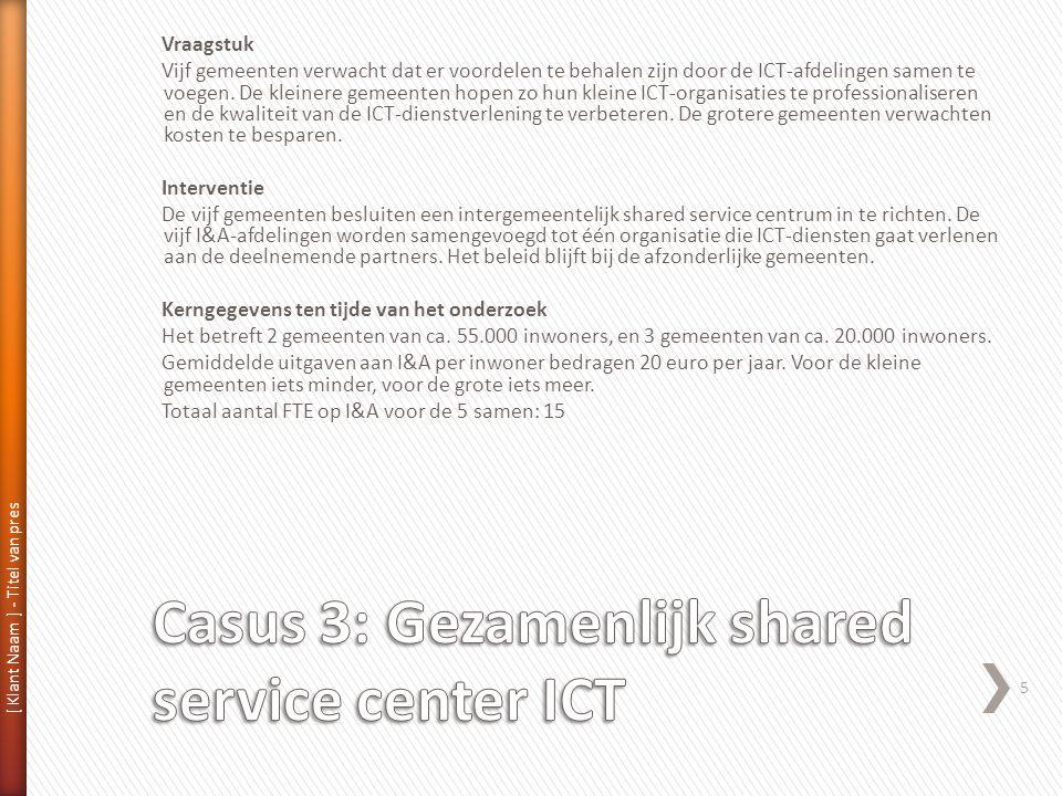 [ Klant Naam ] - Titel van pres 5 Vraagstuk Vijf gemeenten verwacht dat er voordelen te behalen zijn door de ICT-afdelingen samen te voegen.