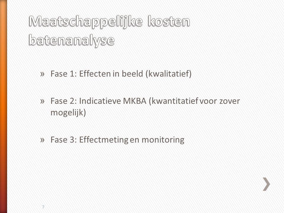 » Fase 1: Effecten in beeld (kwalitatief) » Fase 2: Indicatieve MKBA (kwantitatief voor zover mogelijk) » Fase 3: Effectmeting en monitoring 7