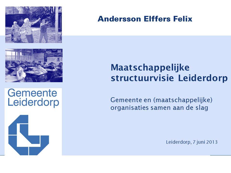 Leiderdorp, 7 juni 2013 Maatschappelijke structuurvisie Leiderdorp Gemeente en (maatschappelijke) organisaties samen aan de slag