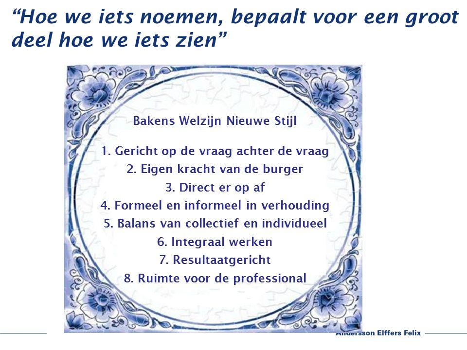 Bakens Welzijn Nieuwe Stijl 1. Gericht op de vraag achter de vraag 2.