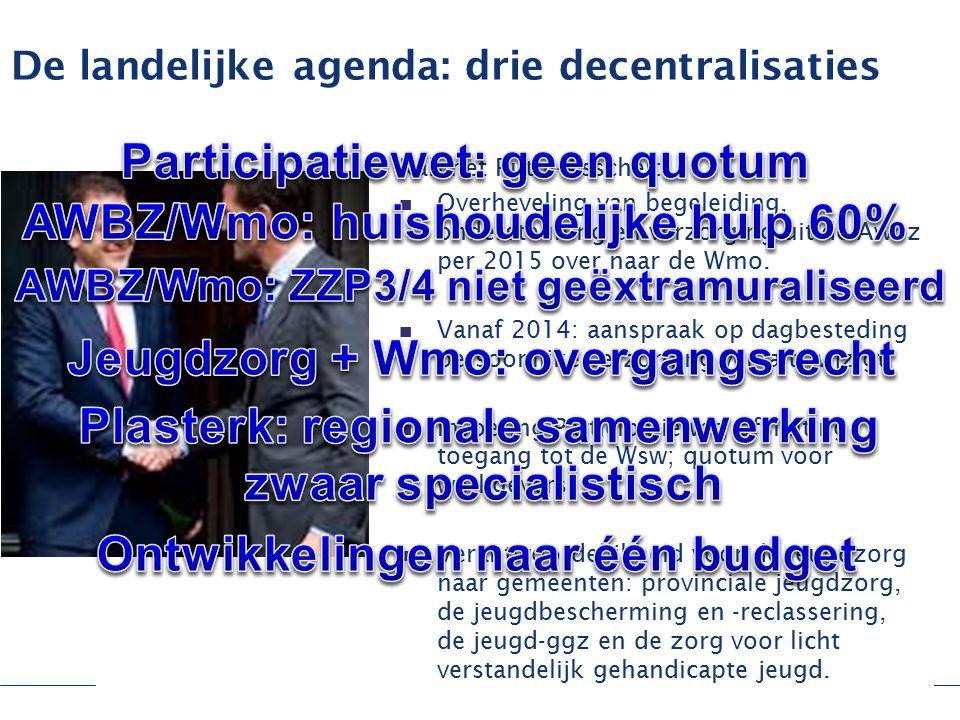 De landelijke agenda: drie decentralisaties Kabinet Rutte-Asscher: Overheveling van begeleiding, ondersteuning en verzorging uit de Awbz per 2015 over naar de Wmo.