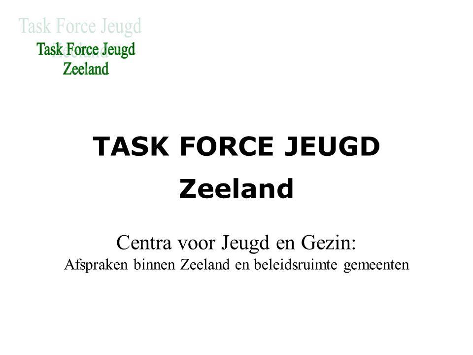 TASK FORCE JEUGD Zeeland Centra voor Jeugd en Gezin: Afspraken binnen Zeeland en beleidsruimte gemeenten