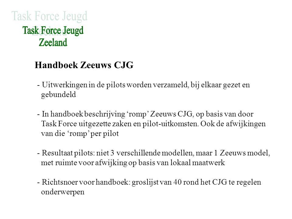Handboek Zeeuws CJG - Uitwerkingen in de pilots worden verzameld, bij elkaar gezet en gebundeld - In handboek beschrijving 'romp' Zeeuws CJG, op basis van door Task Force uitgezette zaken en pilot-uitkomsten.