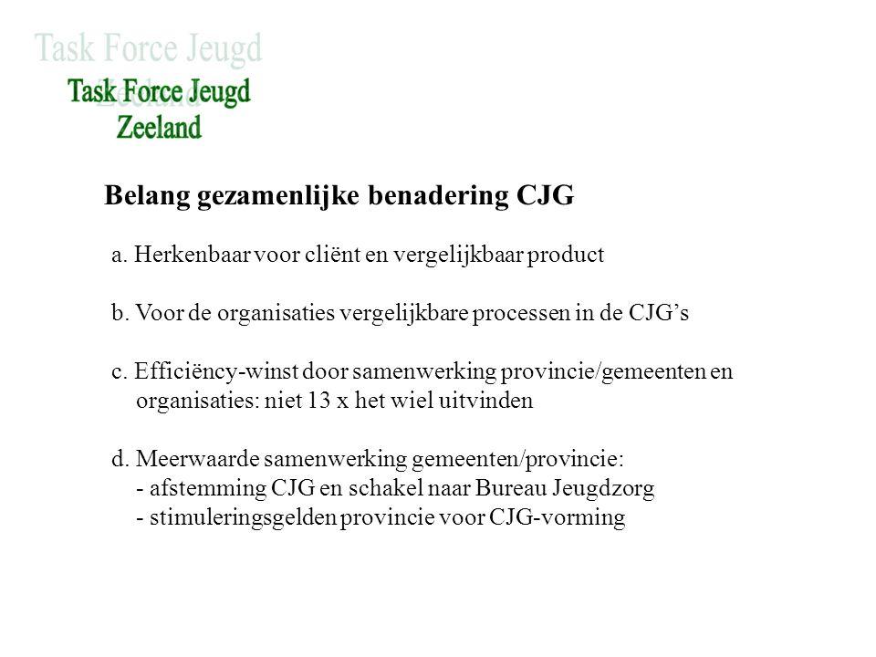 Belang gezamenlijke benadering CJG a. Herkenbaar voor cliënt en vergelijkbaar product b.