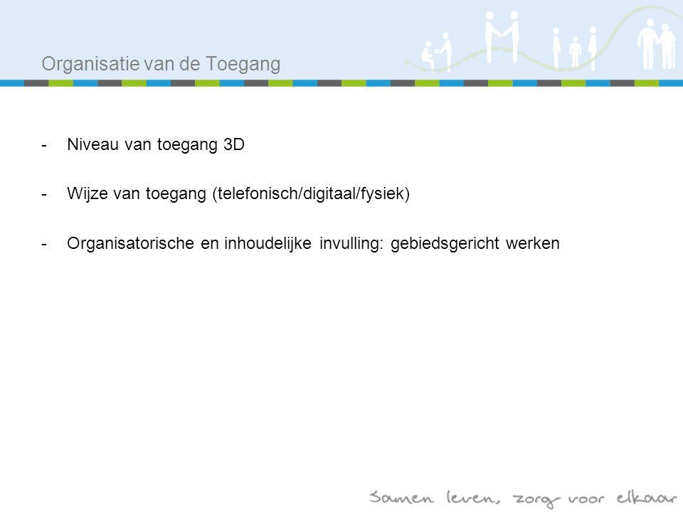 Organisatie van de Toegang -Niveau van toegang 3D -Wijze van toegang (telefonisch/digitaal/fysiek) -Organisatorische en inhoudelijke invulling: gebiedsgericht werken